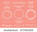 hand draw set of floral border | Shutterstock .eps vector #517442203