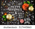 christmas vector card with... | Shutterstock .eps vector #517445863