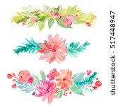 watercolor wreath background | Shutterstock . vector #517448947