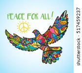 psychedelic peace bird dove... | Shutterstock .eps vector #517459237