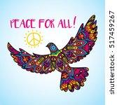 psychedelic peace bird dove... | Shutterstock .eps vector #517459267
