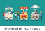 Creative detailed vector street coffee cart, popcorn and hotdog shop with sellers. Young people buy street food or junk food in food festival event. | Shutterstock vector #517471513