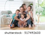 at home  cheerful family of... | Shutterstock . vector #517492633