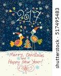 vintage postcard. chickens in... | Shutterstock .eps vector #517495483