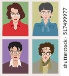 women with glasses cartoon... | Shutterstock .eps vector #517499977