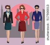 business women standing on... | Shutterstock .eps vector #517500013