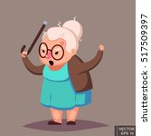 angry old woman brandishing her ... | Shutterstock .eps vector #517509397