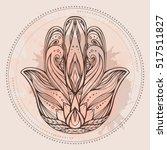 contour illustration hamsa with ... | Shutterstock .eps vector #517511827
