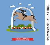 gray race horse and man jockey... | Shutterstock .eps vector #517514803