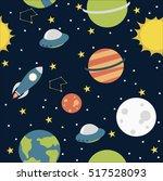 seamless cartoon space pattern... | Shutterstock .eps vector #517528093
