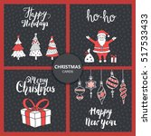 christmas and new year cards... | Shutterstock .eps vector #517533433