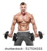 muscular bodybuilder guy doing... | Shutterstock . vector #517534333