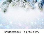 winter decorations spruce... | Shutterstock . vector #517535497
