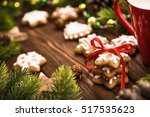 christmas cookies with red... | Shutterstock . vector #517535623