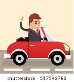 vector. businessman driving.... | Shutterstock .eps vector #517543783