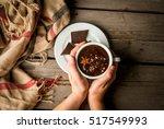 girl drinks hot chocolate mug ... | Shutterstock . vector #517549993