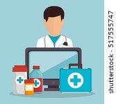 doctor male fisrt aid medicine... | Shutterstock .eps vector #517555747