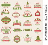 illustration merry christmas... | Shutterstock . vector #517578133