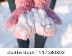 Snow On Pink Gloves