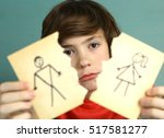 sad preteen boy unhappy about... | Shutterstock . vector #517581277