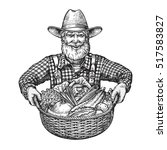 happy farmer with a basket of... | Shutterstock .eps vector #517583827