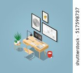 isometric vector home office... | Shutterstock .eps vector #517598737