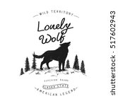 old label with wolf in forest... | Shutterstock .eps vector #517602943
