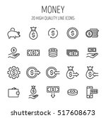 Set Of Money Icons In Modern...