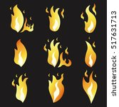 set of animation fire and... | Shutterstock .eps vector #517631713