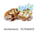 Redhead Kitty With A Wreath Of...