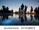 beautiful sunset with people... | Shutterstock . vector #517638823