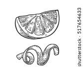 lemon slice and peel twirled .... | Shutterstock .eps vector #517654633