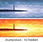 Blue And Orange Lighthouse...