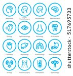 medical specialties icons set 1 ... | Shutterstock .eps vector #517695733