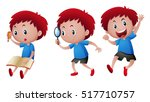 boy doing different actions... | Shutterstock .eps vector #517710757