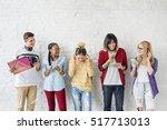 diversity students friends... | Shutterstock . vector #517713013