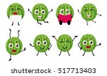 happy watermelon cartoon... | Shutterstock .eps vector #517713403
