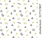 geometric memphis pattern with... | Shutterstock .eps vector #517717807
