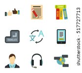 foreign language icons set.... | Shutterstock .eps vector #517727713
