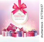 christmas presents with a gift... | Shutterstock .eps vector #517734157