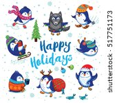 happy holidays penguins... | Shutterstock .eps vector #517751173