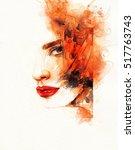 beautiful woman face. abstract... | Shutterstock . vector #517763743