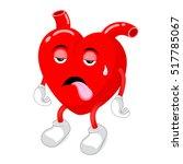 tired  red heart character.... | Shutterstock .eps vector #517785067
