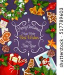 merry christmas poster  new... | Shutterstock .eps vector #517789603