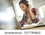 customer service representative ...   Shutterstock . vector #517790863