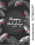 merry christmas poster. happy... | Shutterstock .eps vector #517802197