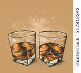 whiskey in two glasses.hand... | Shutterstock .eps vector #517812343