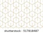 golden lines  hexagons and... | Shutterstock .eps vector #517818487