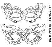 set of festive masks. beautiful ... | Shutterstock .eps vector #517821757