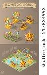 set of isolated isometric... | Shutterstock .eps vector #517834993